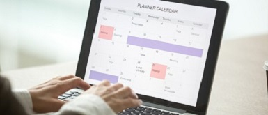 Calendar on computer to show Indiana Employee Benefit Compliance
